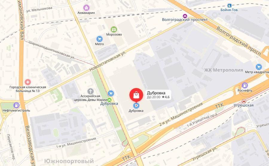 """Расположение рынка """"Дубровка"""" на карте"""