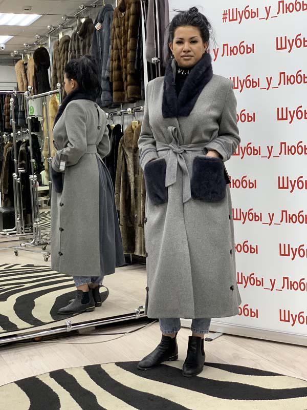 Турецкое кашемировое пальто серого цвета комбинированное с норкой