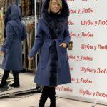 Синее пальто из кашемира и норки с капюшоном, Турция, синий цвет