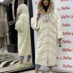 Шуба норковая, модель «Кимоно», мех канадский, цвет белый, капюшон из меха рыси