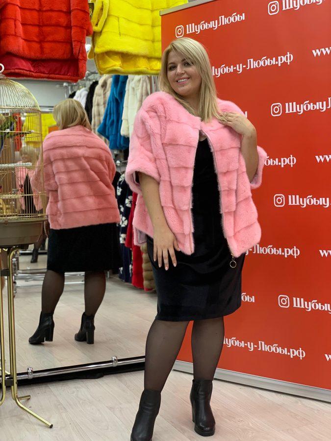 Розовый свитер из норки на молнии и без воротника