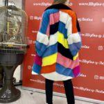 Норковая шуба из канадского меха «Радуга» с английским воротником, цвет разноцветный