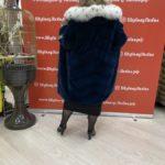 Норковая шуба из канадского меха «Кимоно» с капюшоном из рыси, цвет морской волны