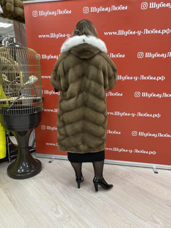 Норковая шуба «Кимоно» с капюшоном из рыси, цвет палевый