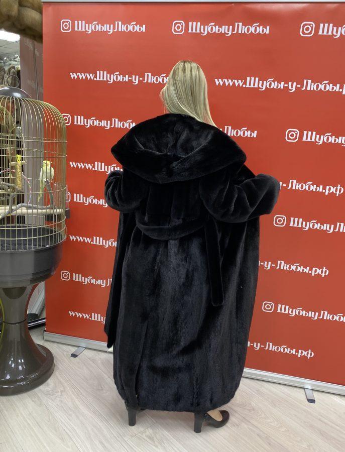 Черная норковая шуба из канадского меха «Халат» с капюшоном «Кобра»