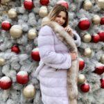 Норковая шуба из канадского меха «Снежинка» из отделки рыси, цвет колотый лед