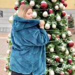 Укороченная норковая шуба из канадского меха «баллончик», цвет бирюза