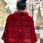 Норковый свитер с воротником стойка, цвет рубин