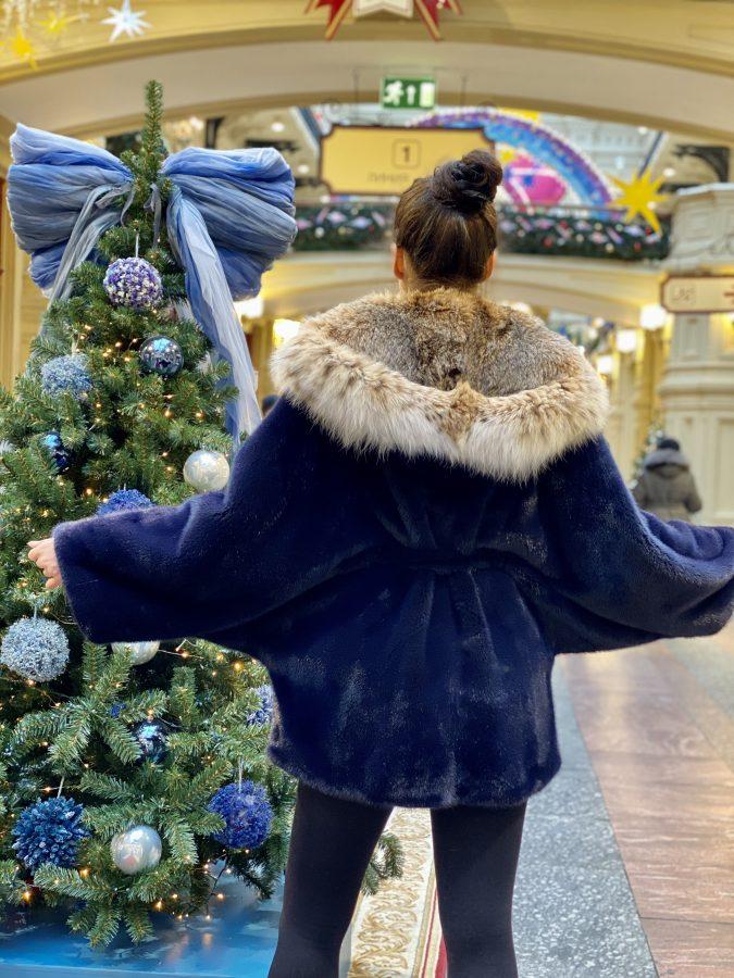 Норковая шуба «Кимоно» с капюшоном из рыси, цвет парламент