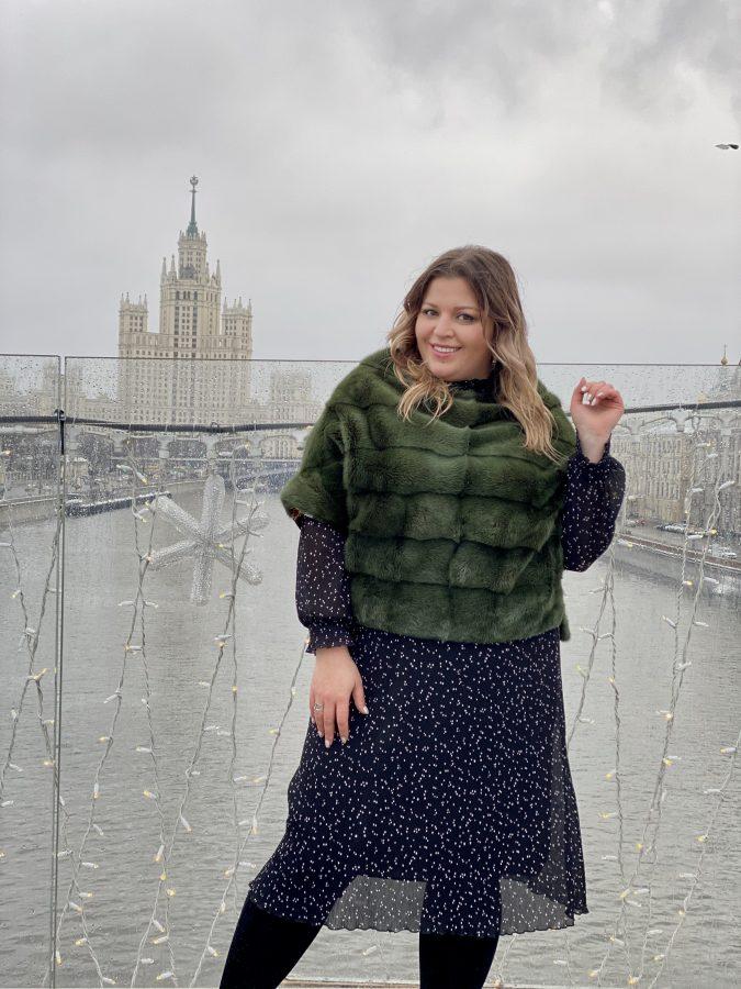 Норковый свитер, цвет оливковый