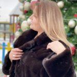 Норковое пальто с английским воротником, цвет Марсал