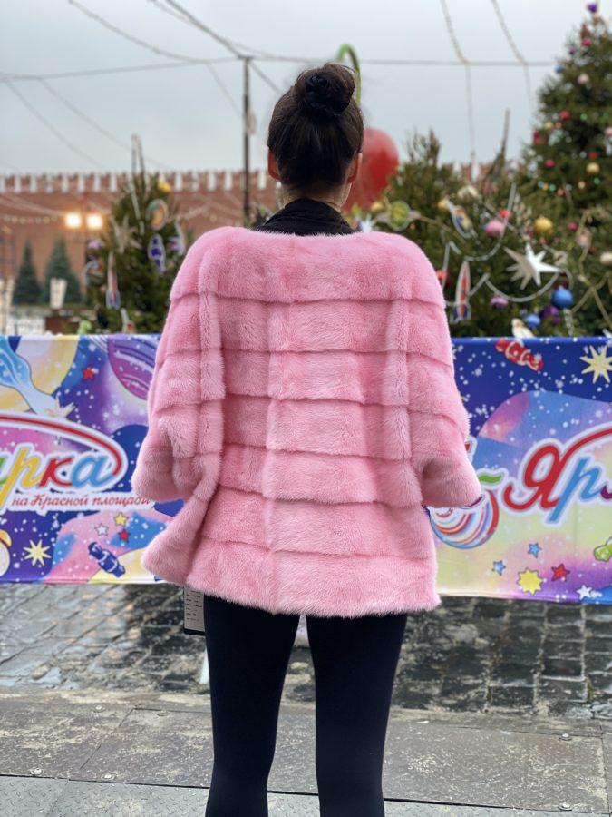 Розовый норковый свитер с воротником стойка